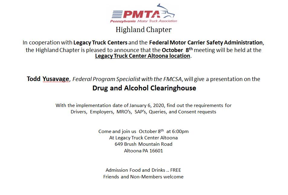 PMTA - Events Calendar